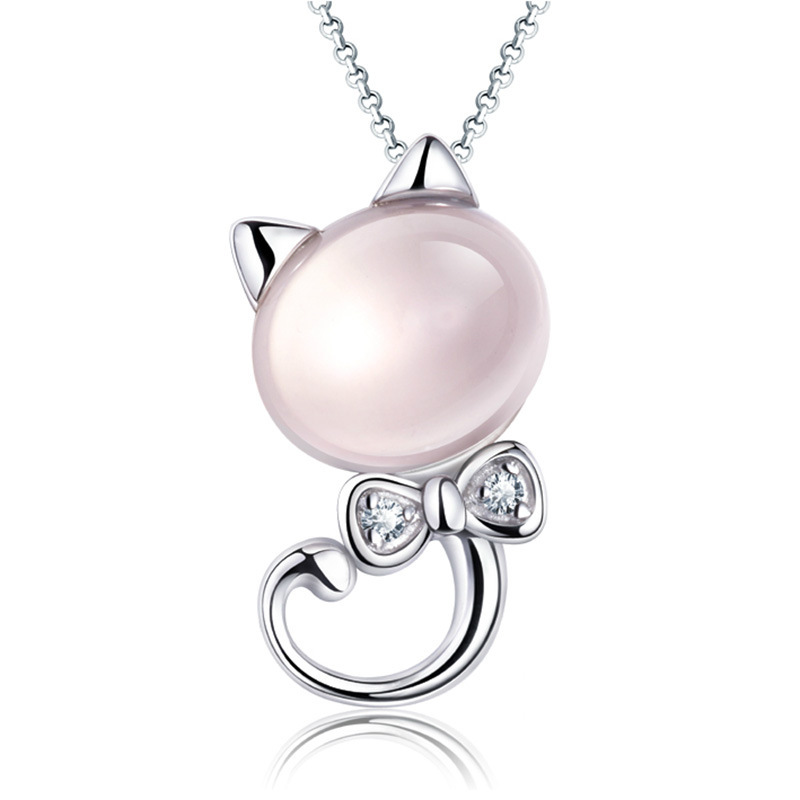 2015-new-fashion-silver-chain-pink-cute-fine-cat-jewelry-kitten-pendant-necklace-for-women-HL0247
