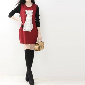 Women's Cat Shape Winter Dress