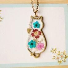 Vintage Bronze Cat Necklace