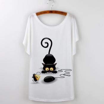 Casual Women Cat T-shirt