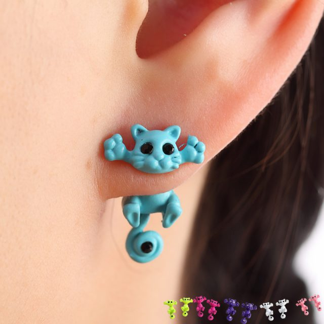 Multiple Colors Cute Cat Stud Earrings