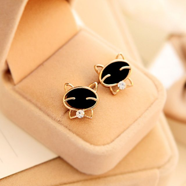 Black Smiling Cat Stud Earrings