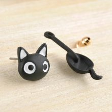 Cute Black Kitten Earrings