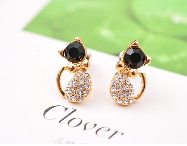 Gold Plated Cat Stud Earrings with Rhinestone
