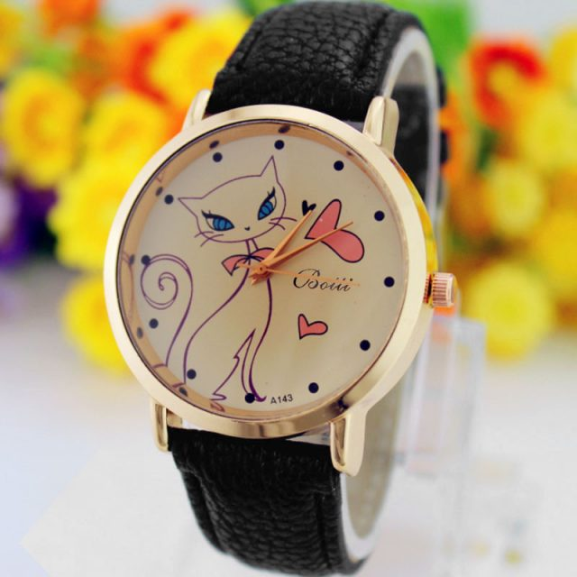 Leather Strap Quartz Watch with Cute Cat
