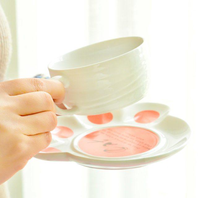 Cute Cat Mug and Saucer Set