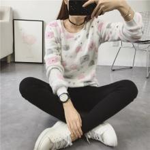Soft Fleece Sweatshirt with Cat Prints (2 types)