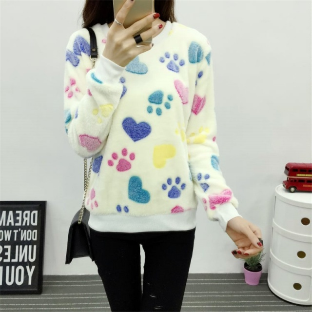 Soft Fleece Sweatshirt with Cat Prints (2 types)