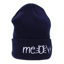 Knitted Beanie with `Meow` Print (4 colors)