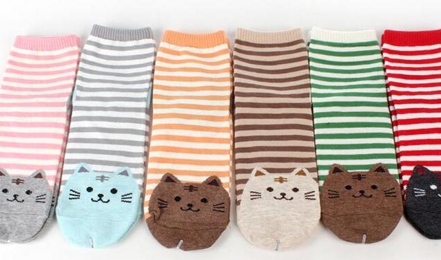 Striped Cat Socks (6 colors)