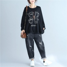 Loose Sweatshirt with Cats Print (2 colors)