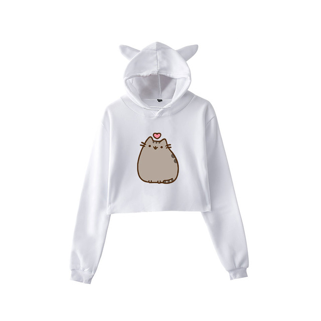 Pusheen Cropped Hoodie with Cat Ears (30 types)