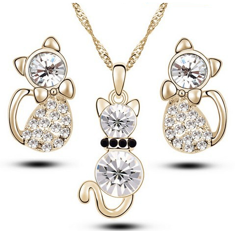 Little Cat Rhinestone Jewelry Set
