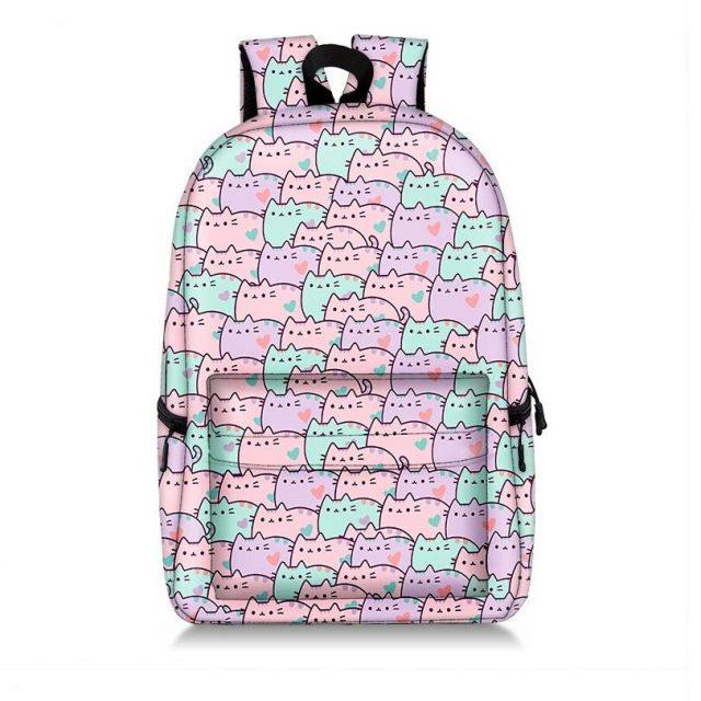 Pusheen Cat Cute Kawaii Collage Pattern Student Backpack