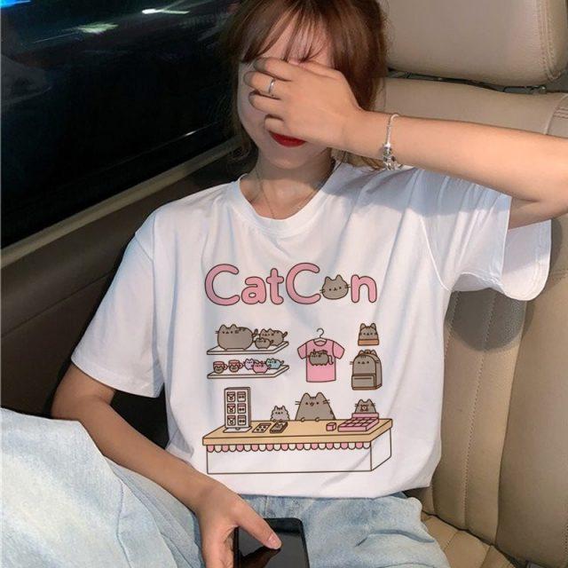 Pusheen Cat Catcon Funny Kawaii Cute Cartoon Print T-Shirt