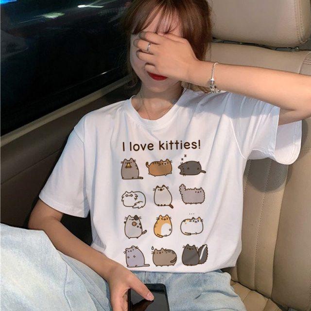 Pusheen Cat I Love Kitties Funny Kawaii Cute Cartoon Print T-Shirt