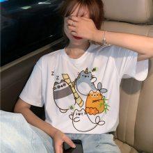 Pusheen Cat Panda Funny Kawaii Cute Cartoon Print T-Shirt