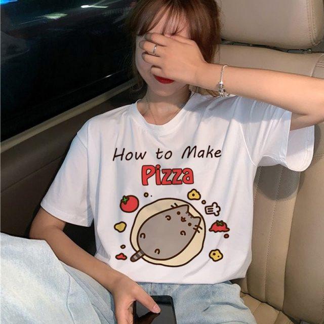 Pusheen Cat How To Make Pizza Funny Kawaii Cute Cartoon Print T-Shirt