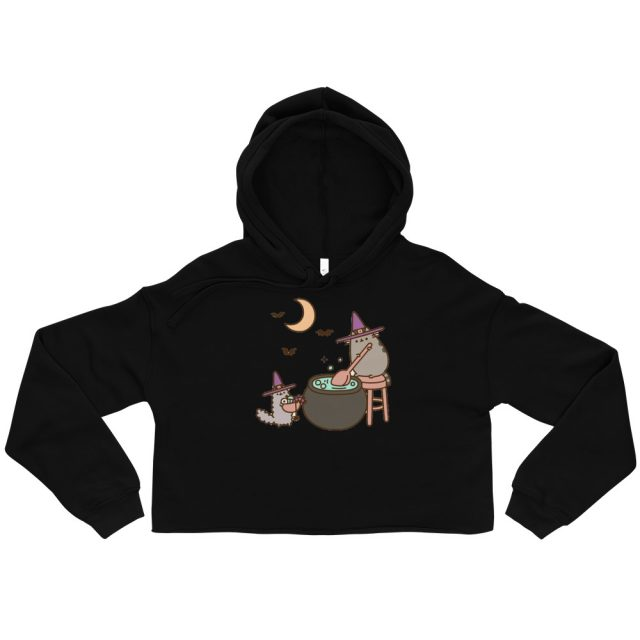 I am Pusheen The Cat Stormy Wizard Halloween Print Crop Hoodie