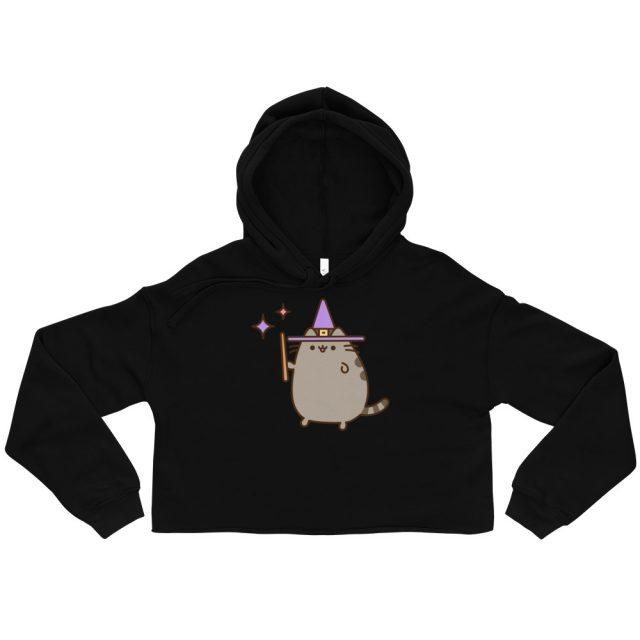 I am Pusheen The Cat Wizard Halloween Print Crop Hoodie
