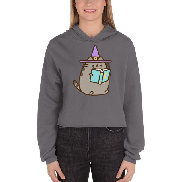 I am Pusheen The Cat Wizard with Spell Book Halloween Print Crop Hoodie
