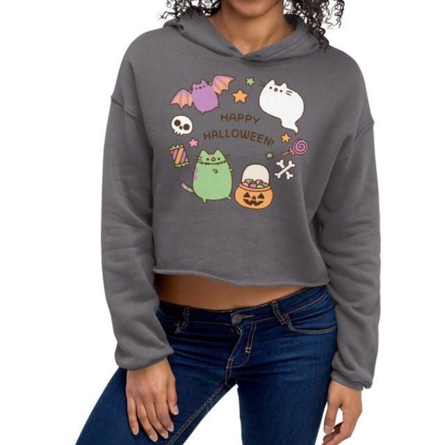 I am Pusheen The Cat Happy Halloween Print Crop Hoodie