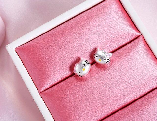 Hello Kitty Silver Plated Cute Stud Earrings