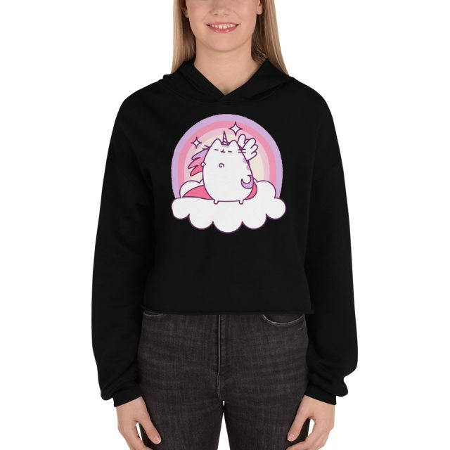 I am Pusheen The Cat Super Pusheenicorn Print Crop Hoodie